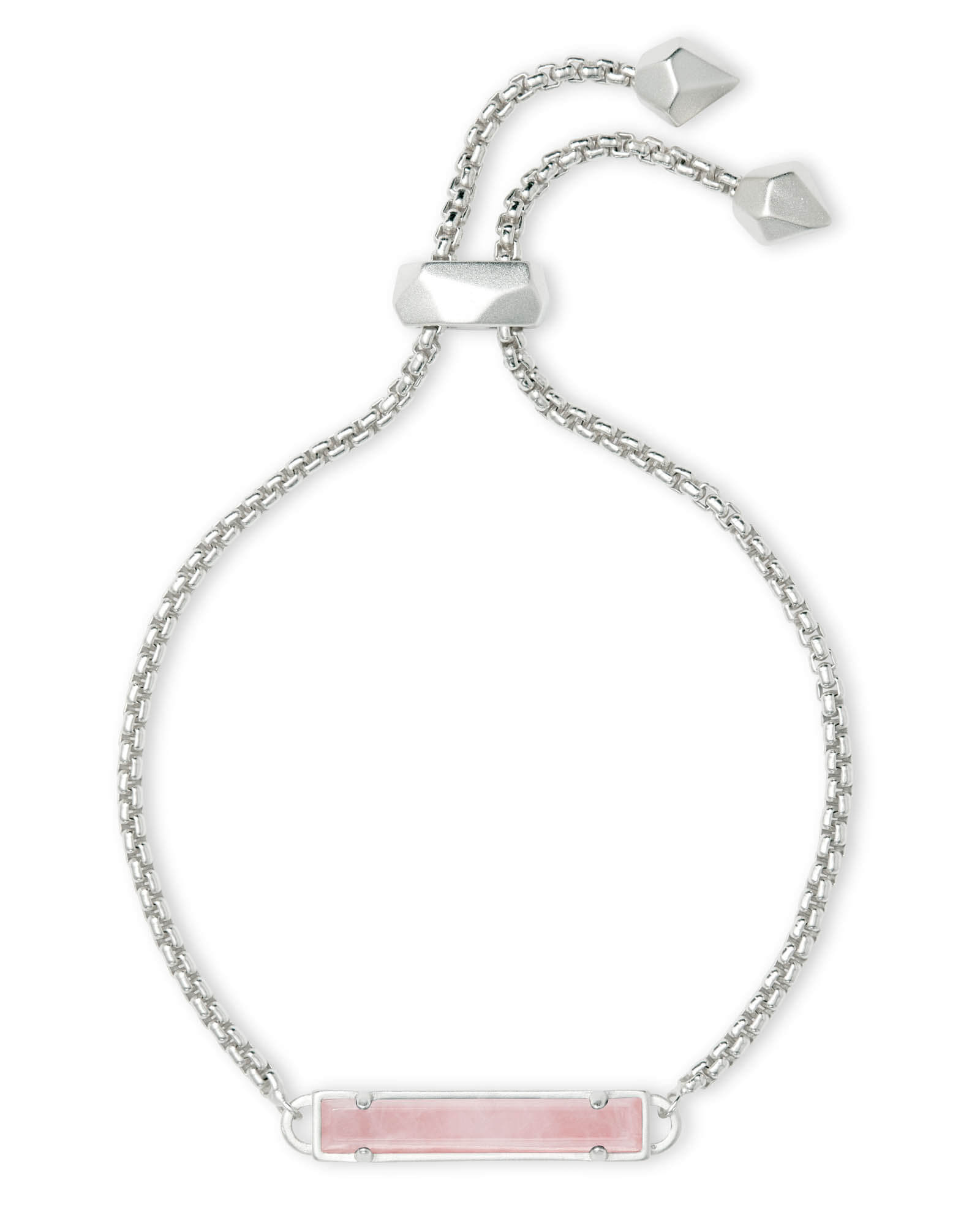Kendra Scott Stan Silver Adjustable Chain Bracelet in Rose Quartz