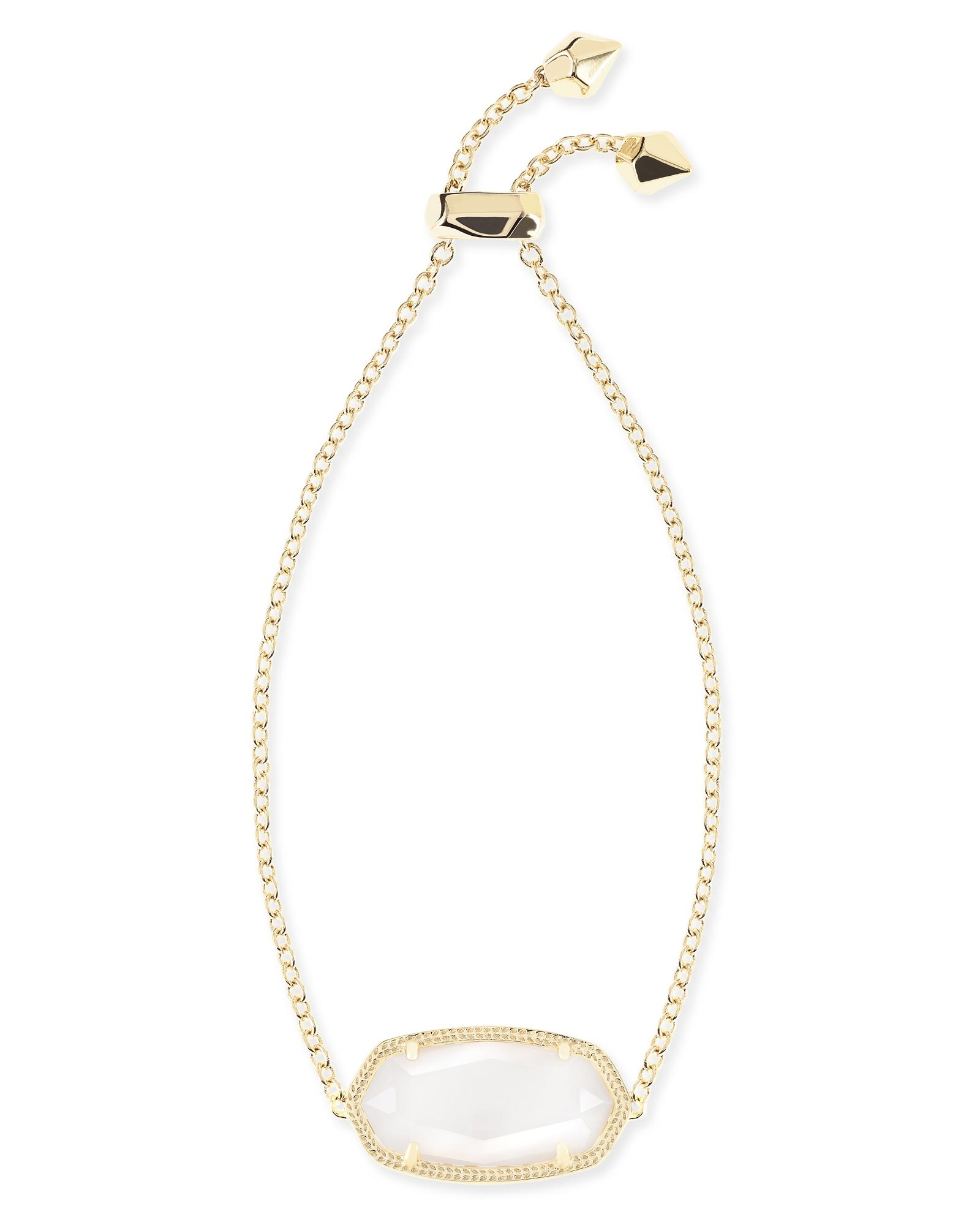 Daisy Gold Adjustable Chain Bracelet in White Pearl