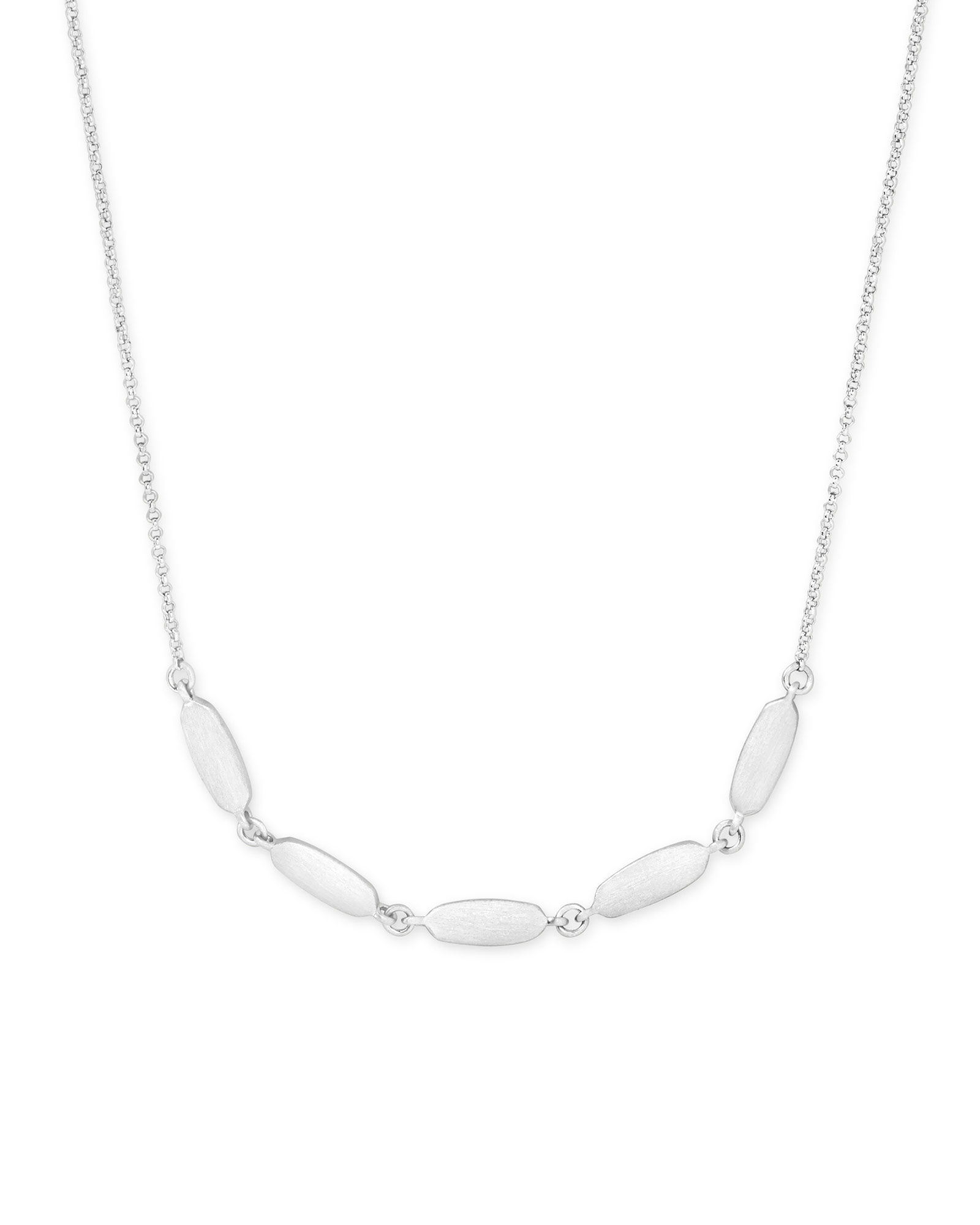Fern Collar Necklace in Bright Silver