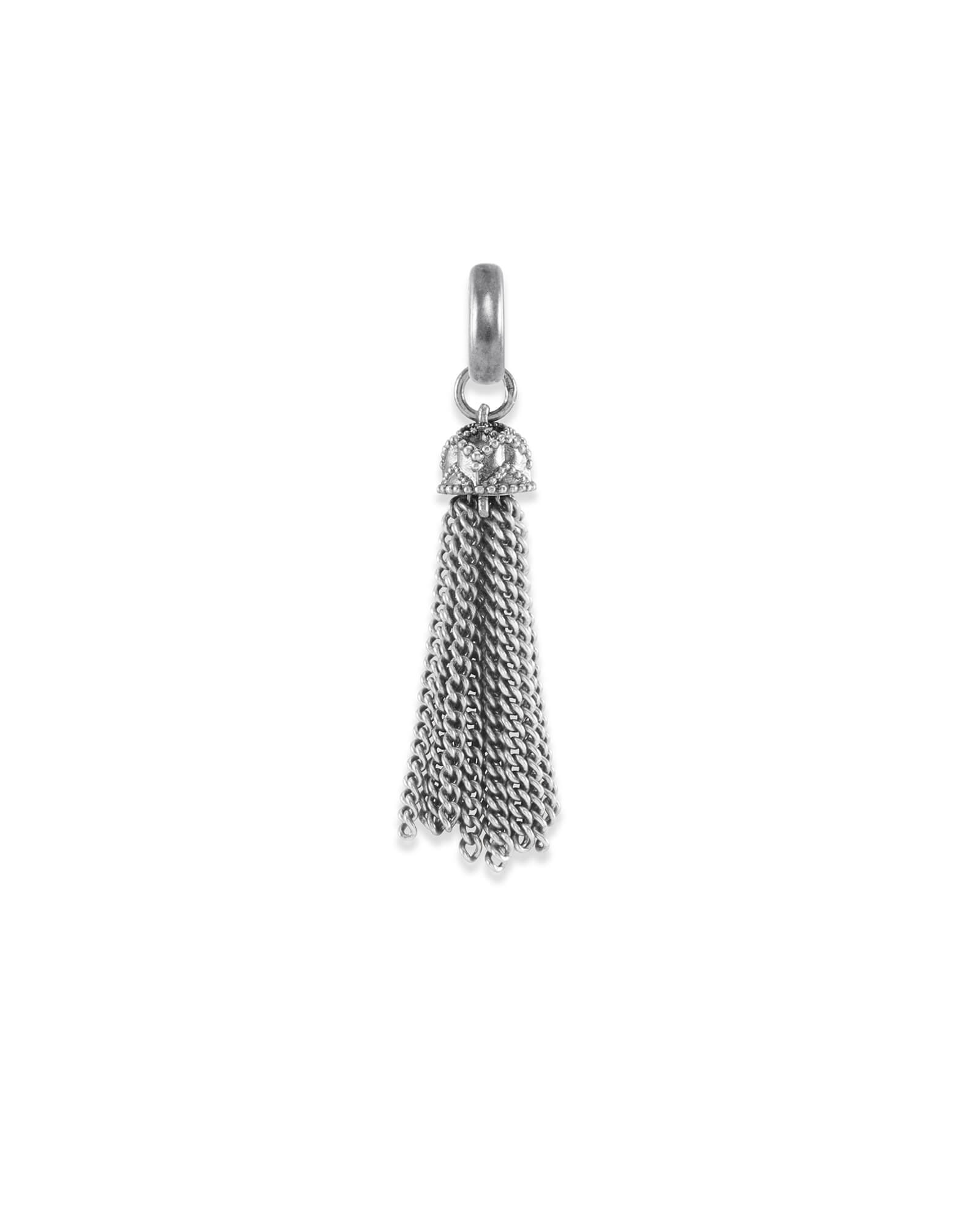 Small Tassel Charm in Vintage Silver