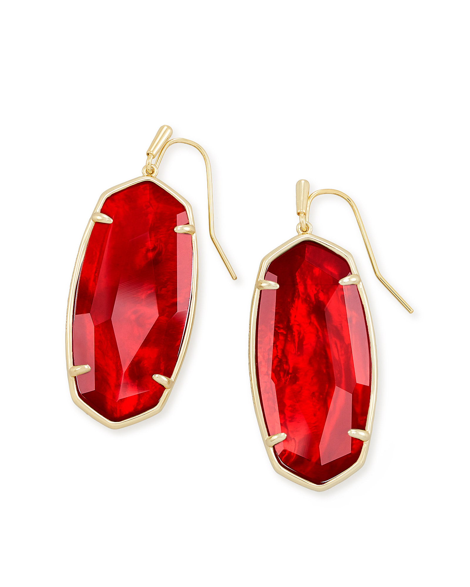 Faceted Elle Gold Drop Earrings in Cherry Red Illusion