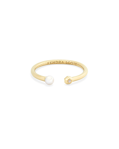 Cathleen 14k Yellow Gold Open Ring in Pearl