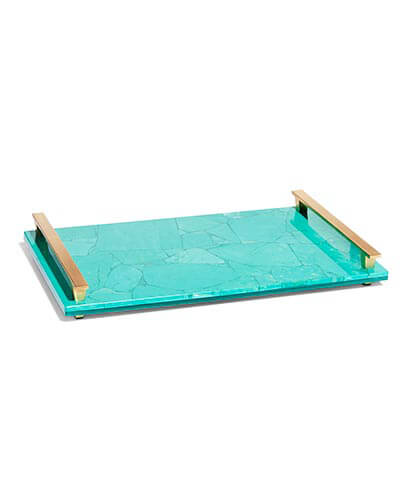 Large Tray in Variegated Teal Magnesite