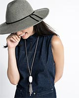 Rayne Long Pendant Necklace in Gunmetal