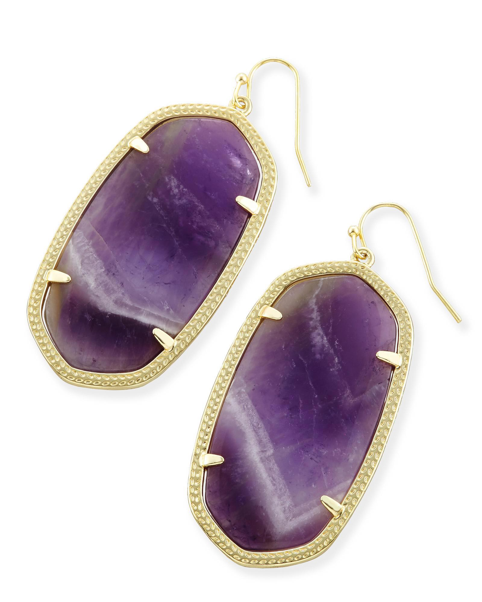 Danielle Statement Earrings in Chevron Amethyst