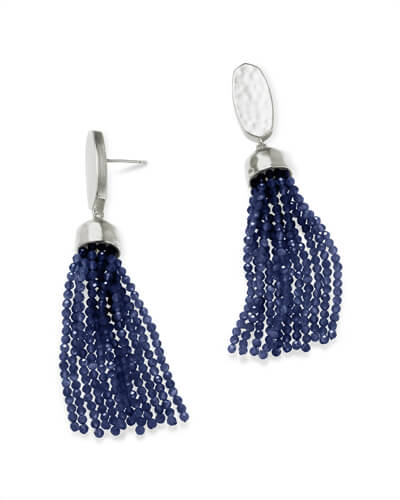 Marin Silver Statement Earrings in Navy Cats Eye
