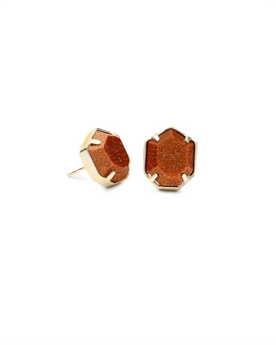 Taylor Gold Stud Earrings In Goldstone