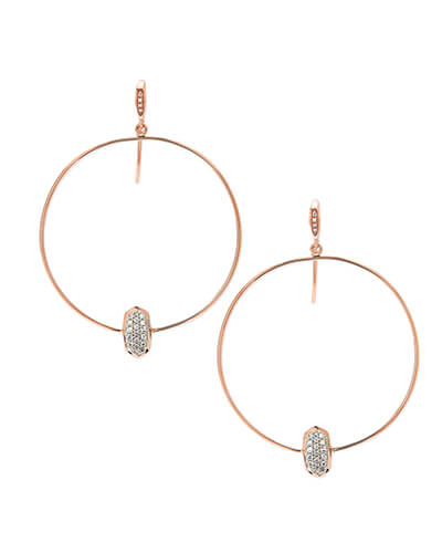 Elora 14k Rose Gold Hoop Earrings in White Diamond