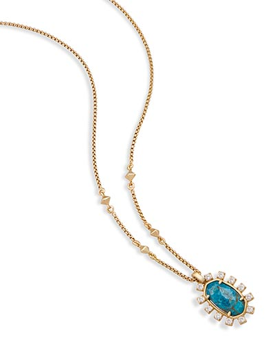 Brett Pendant Necklace in Aqua Apatite