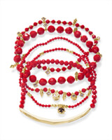 Supak Gold Beaded Bracelet Set in Red Pearl