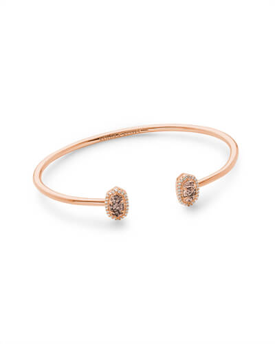 Calla Rose Gold Cuff Bracelet in Rose Gold Drusy