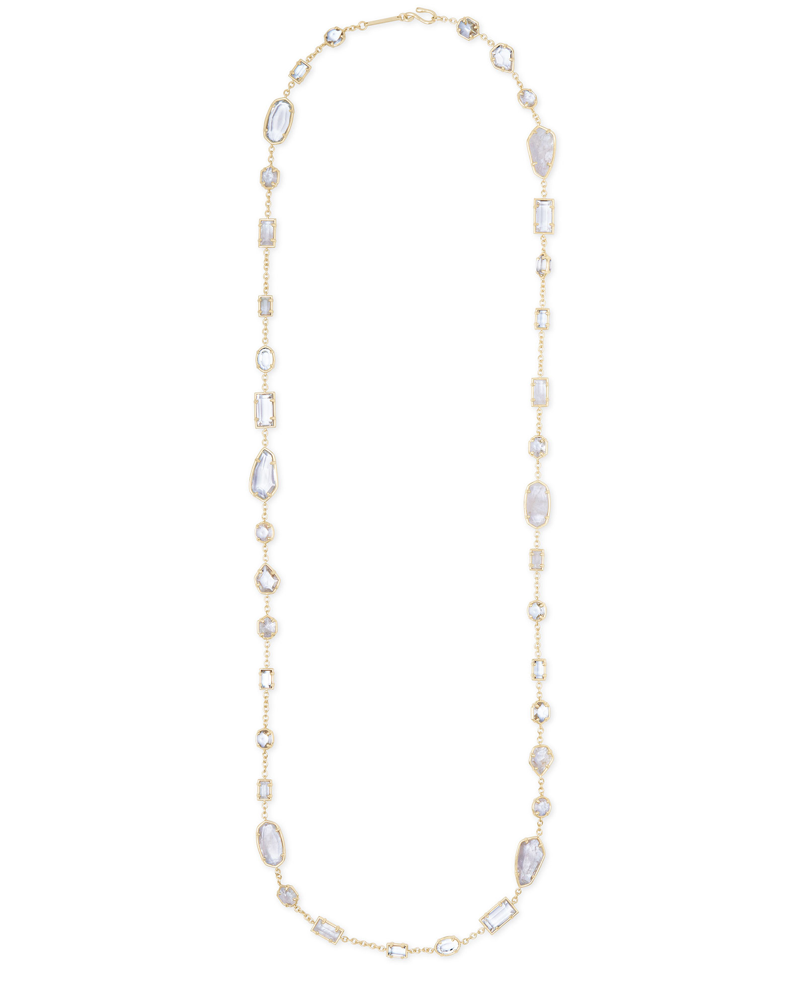 Joann Gold Long Necklace in Rock Crystal Mix