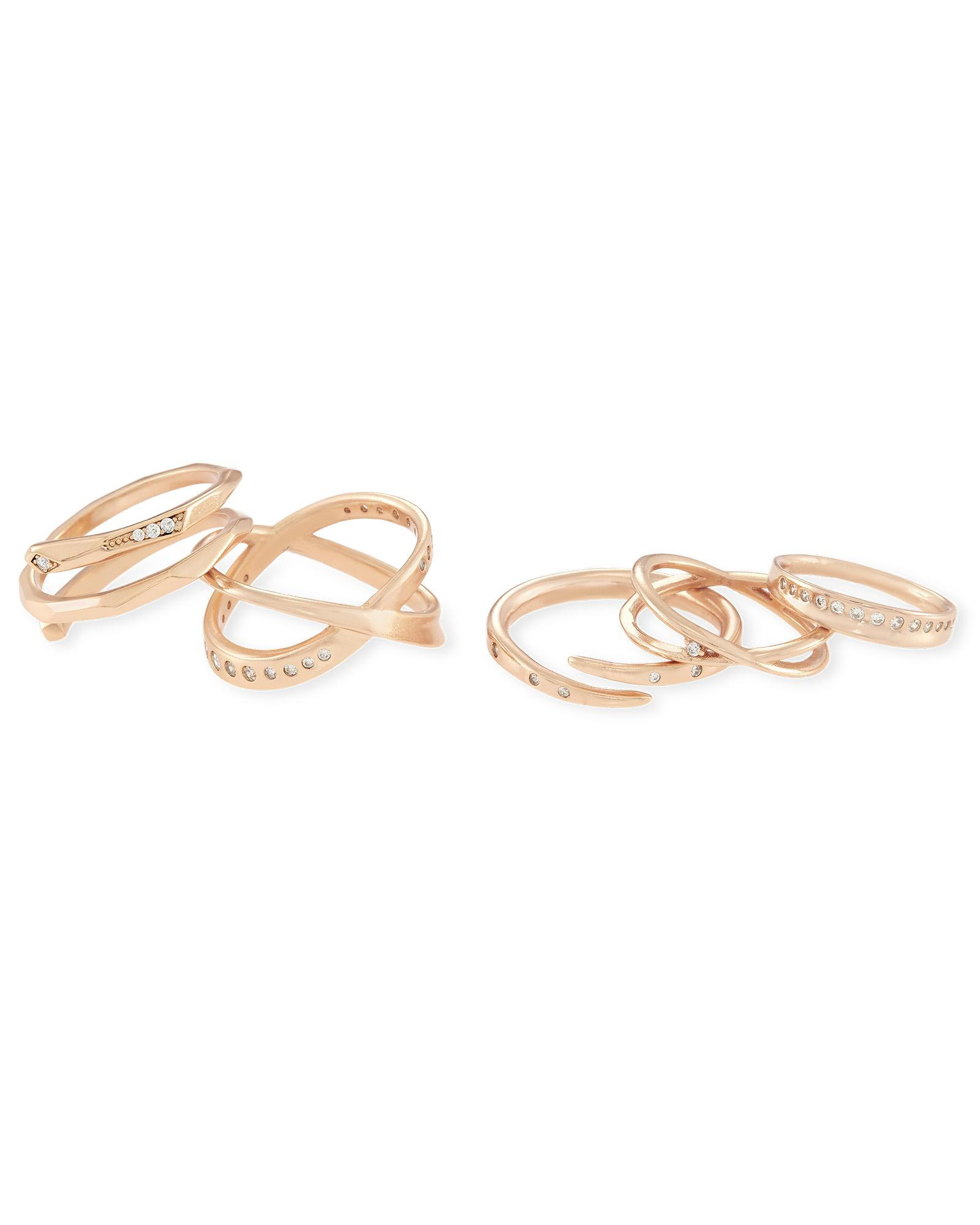 c5764aaea3 Robyn Rose Gold Stackable Ring Set, 5 Rings | Kendra Scott