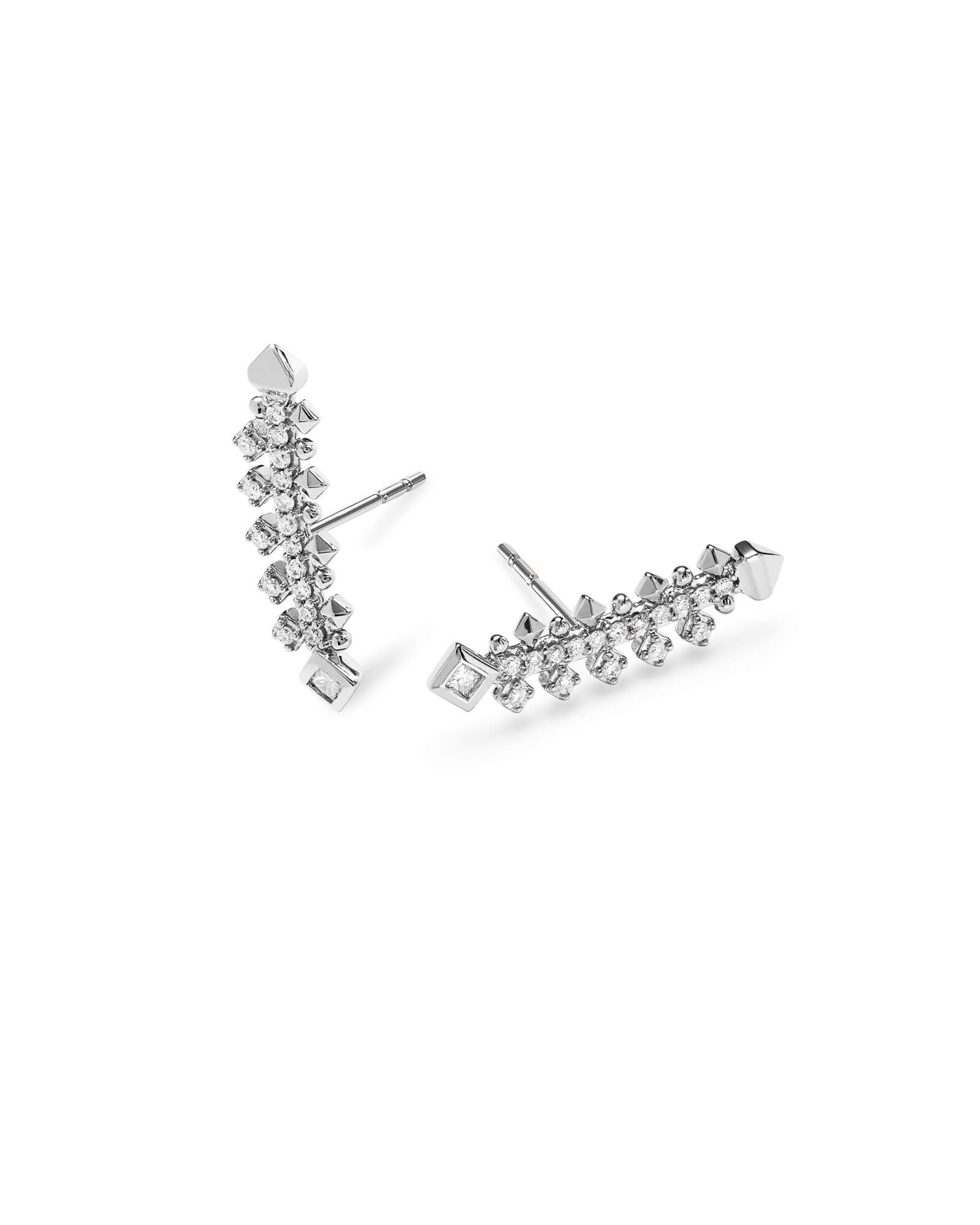 Indie 14k White Gold Earrings in White Diamond