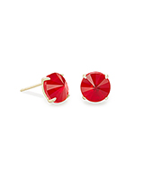 Jolie Gold Stud Earrings in Cherry Red Illusion