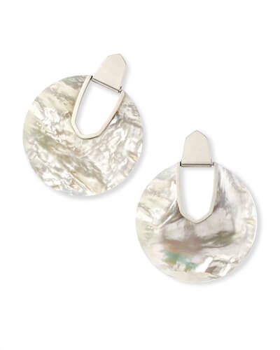 Diane Silver Statement Earrings in Ivory Mother of Pearl