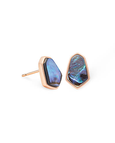 Clove Rose Gold Stud Earrings in Abalone Shell