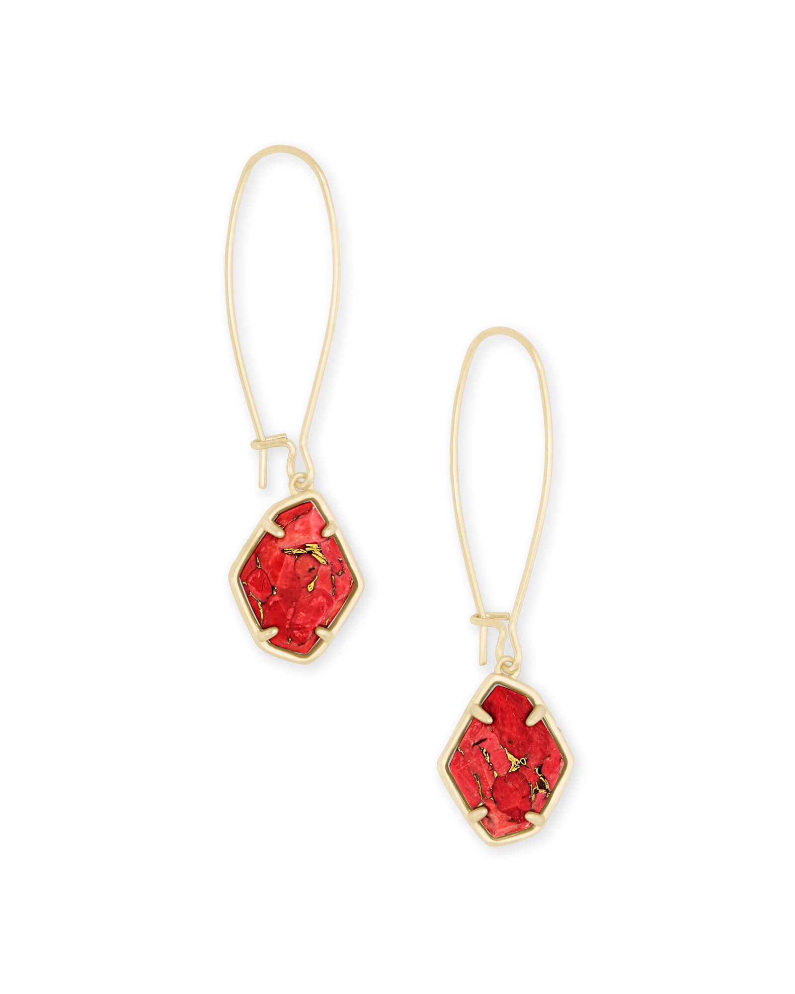 Ellington Gold Drop Earrings in Bronze Veined Red Magnesite