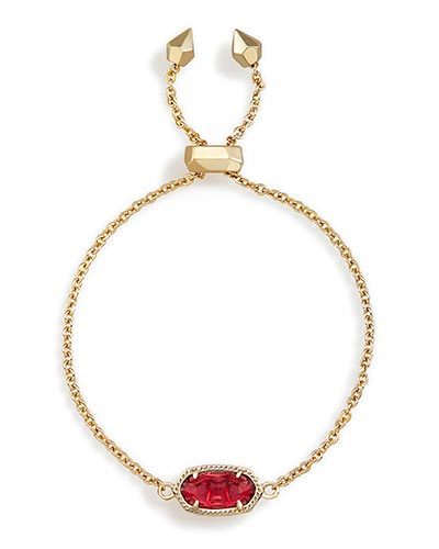 Elaina Adjustable Chain Bracelet in Berry Glass
