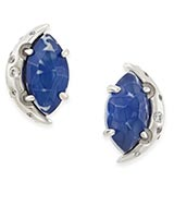 Marie Stud Earrings in Crackle Blue Agate