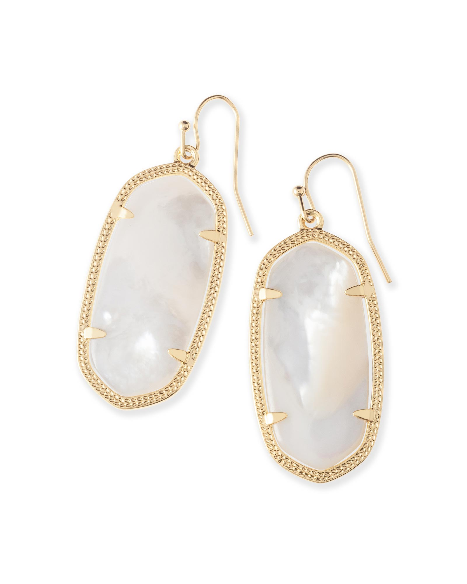 Elle Gold Drop Earrings In Ivory Pearl