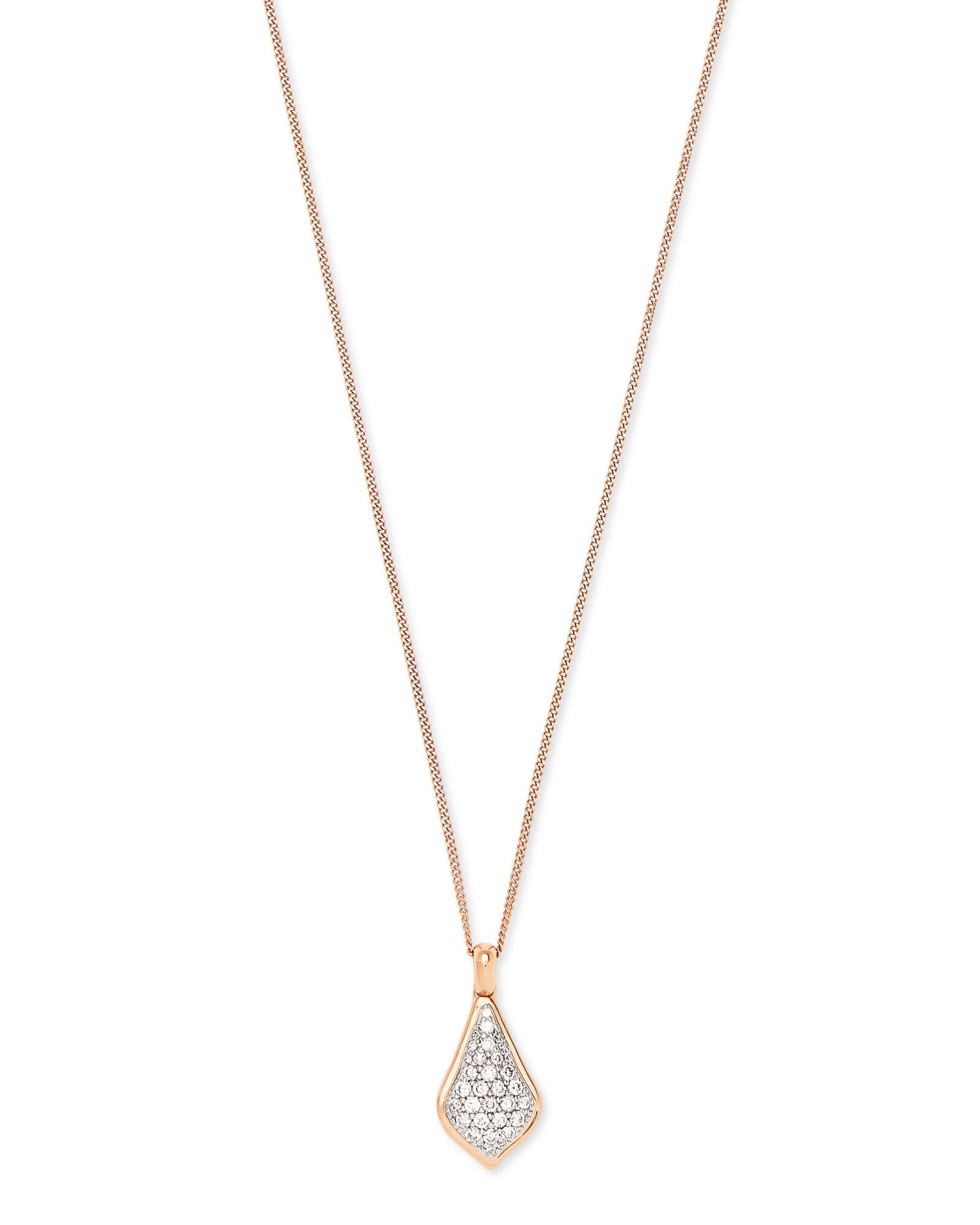 Lela Pendant Necklace in Pave Diamond and 14k Rose Gold