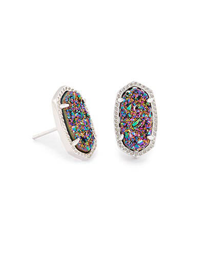 Ellie Silver Stud Earrings in Multi-Color Drusy