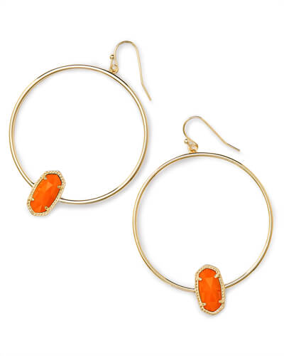 Elora Gold Hoop Earring In Orange