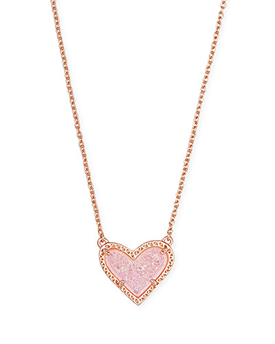 Ari Heart Rose Gold Short Pendant Necklace In Pink Drusy Kendra