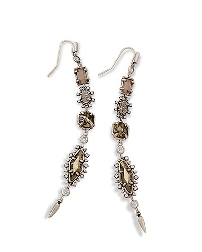 Leandra Shoulder Duster Earrings in Antique Silver