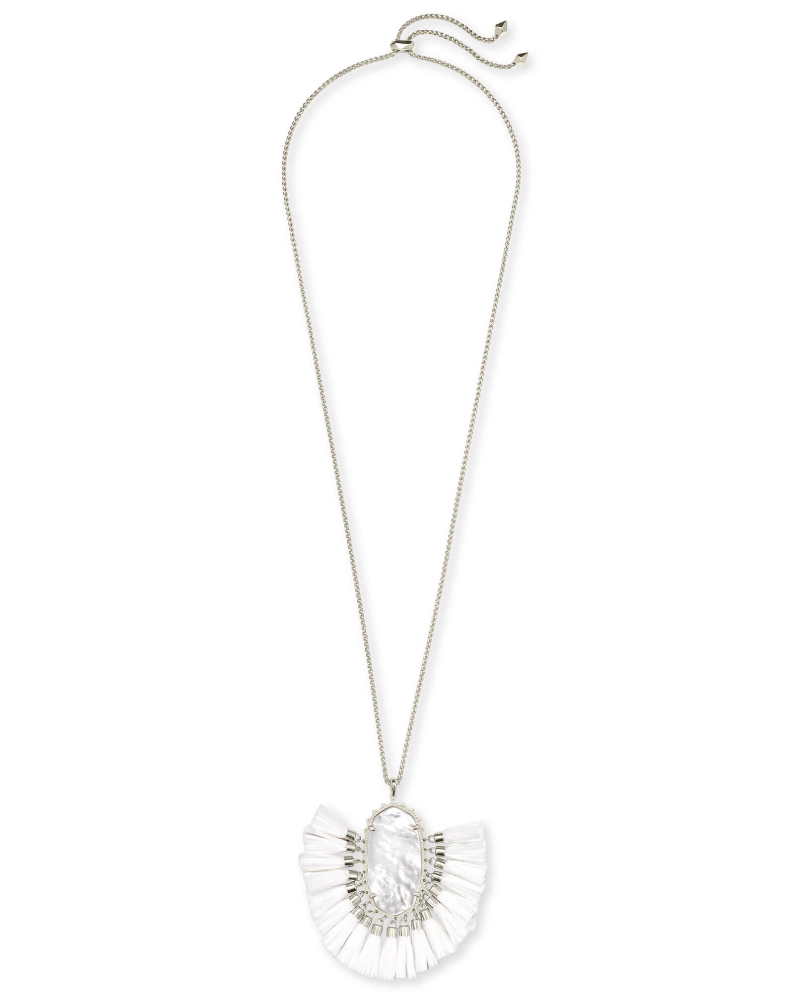 Betsy Silver Long Pendant Necklace In Ivory Mother of Pearl