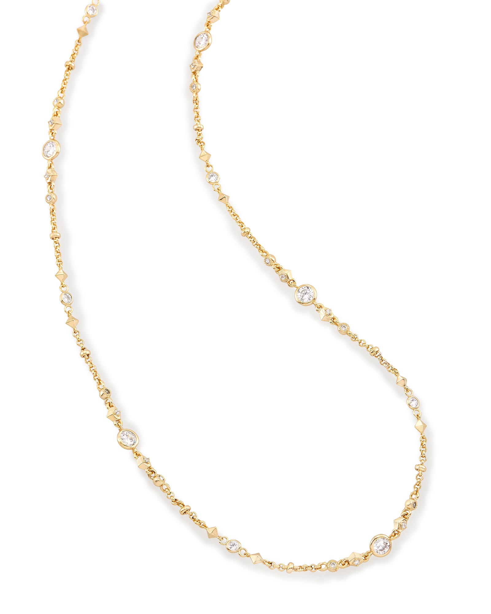 Dree Long Necklace in Brass