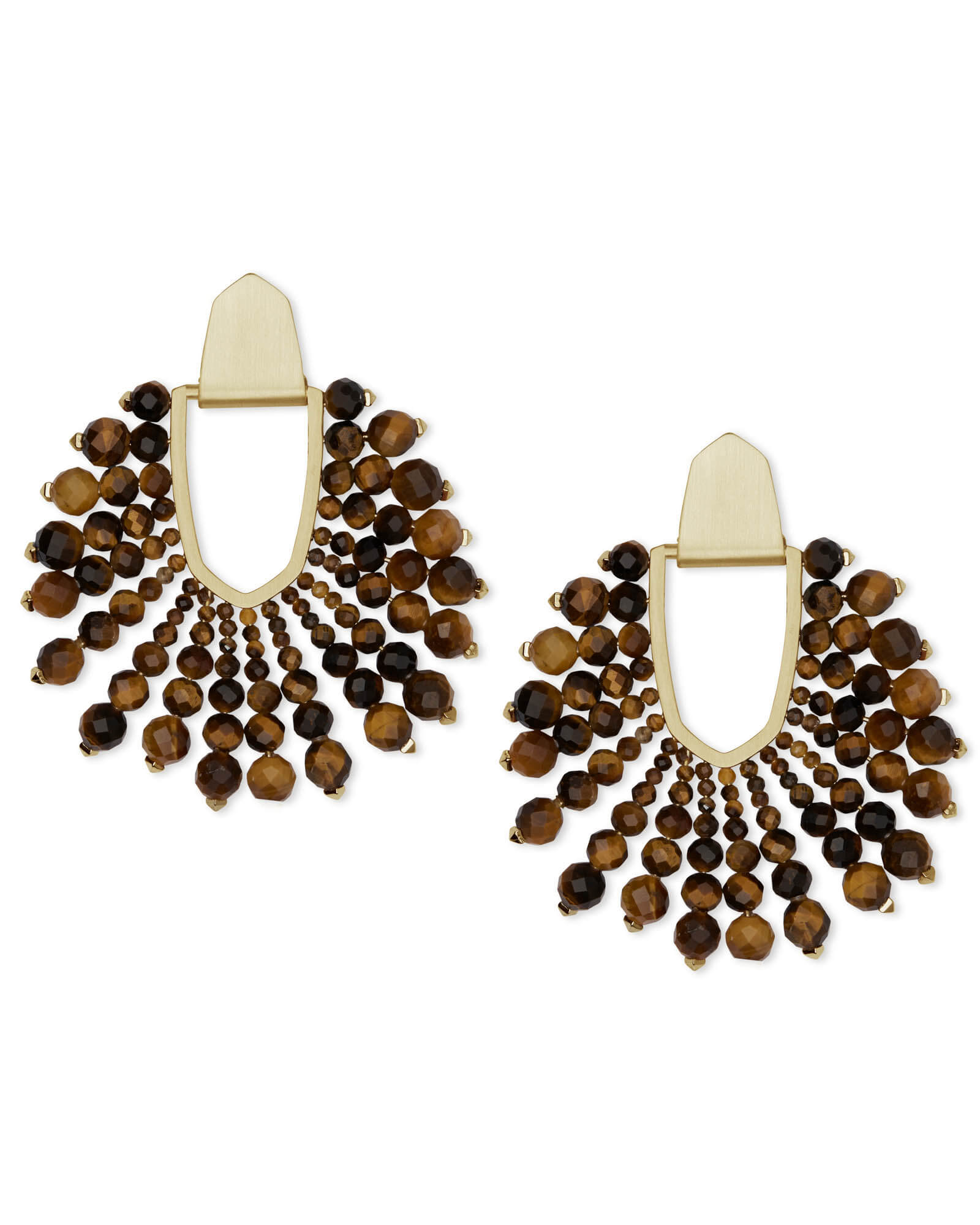 Diane Gold Statement Earrings In Beaded Brown Tigers Eye by Kendra Scott