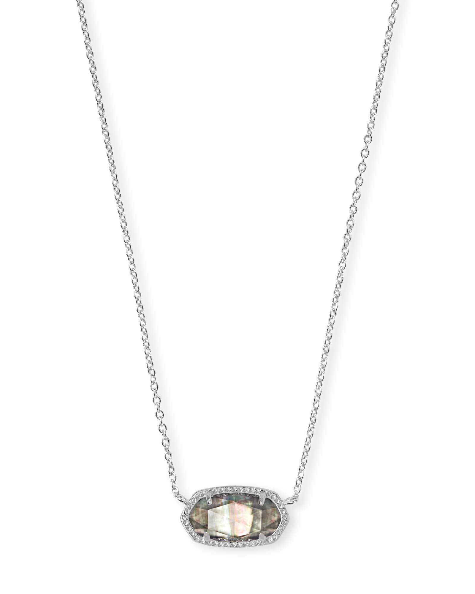 Elisa Bright Silver Pendant Necklace in Black Mother-of-Pearl