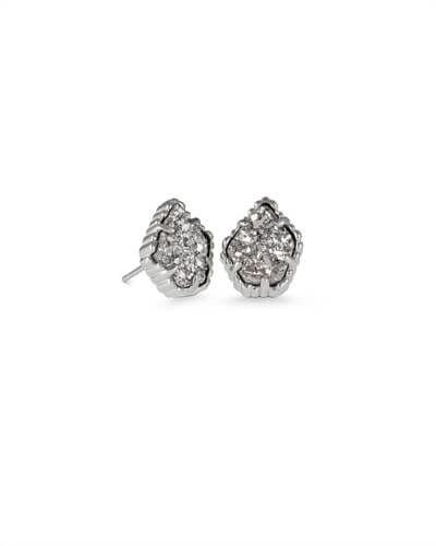 Tessa Silver Stud Earrings in Platinum Drusy