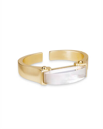 Kailey Hinge Cuff Bracelet in Ivory Pearl