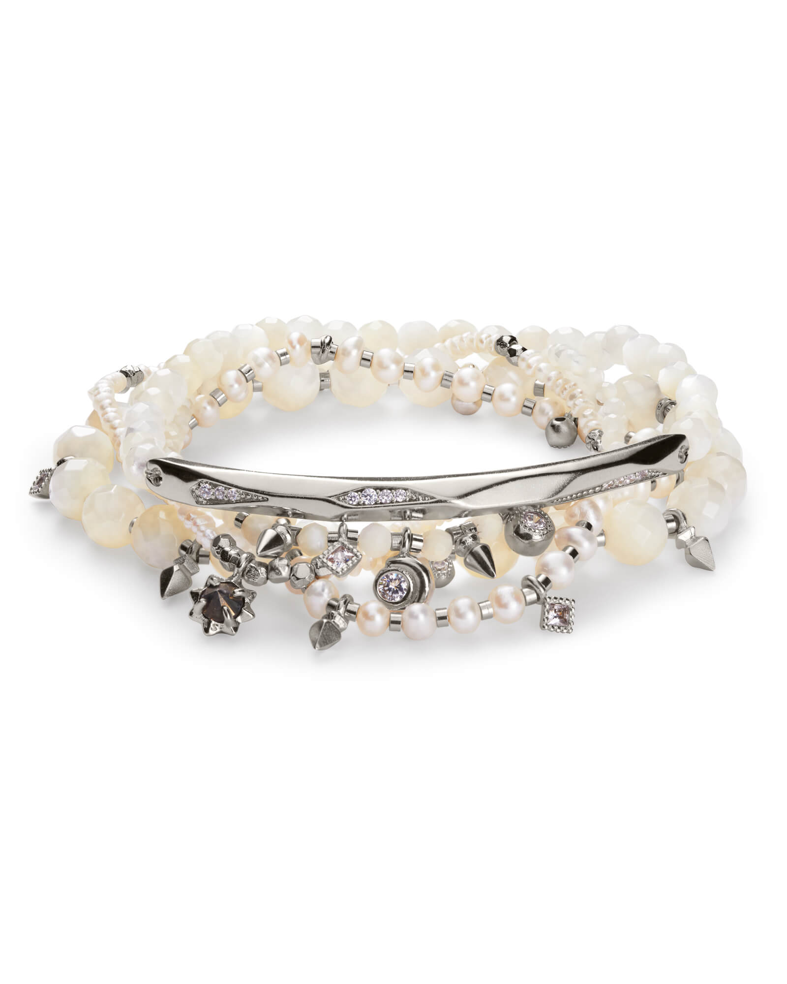 Supak Silver Beaded Bracelet Set Ivory Mother of Pearl Mix