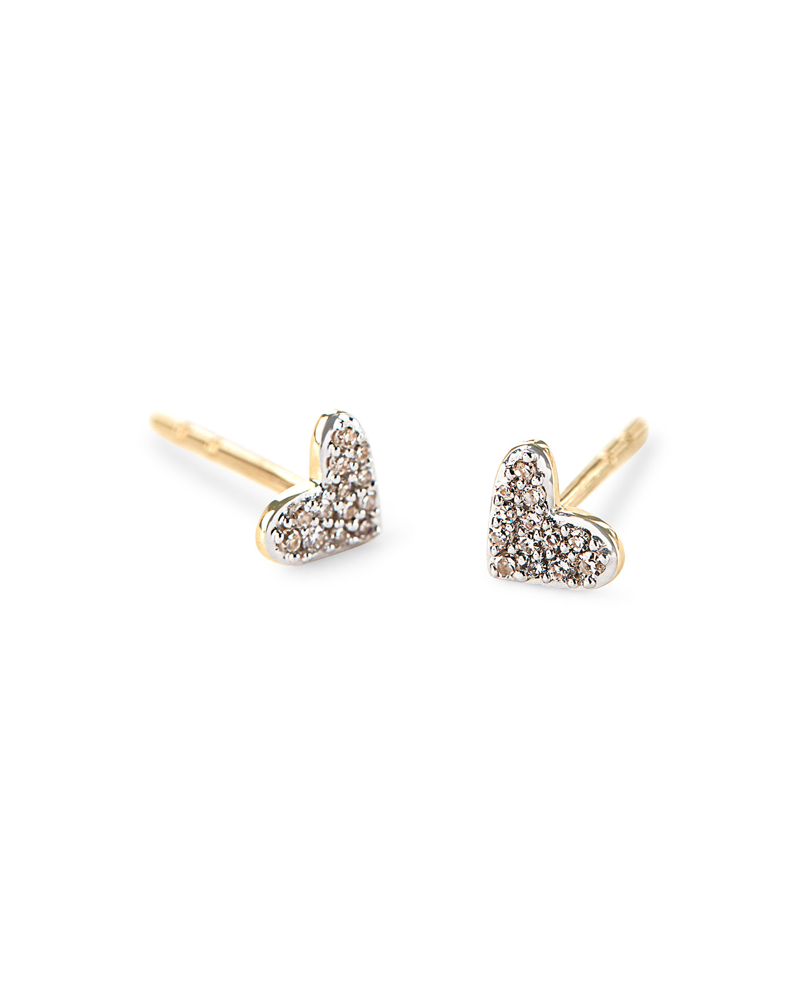 Heart 14k Yellow Gold Stud Earrings in White Diamonds
