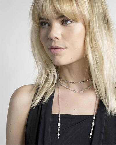 Emelina Lariat Necklace in Ivory Zellige