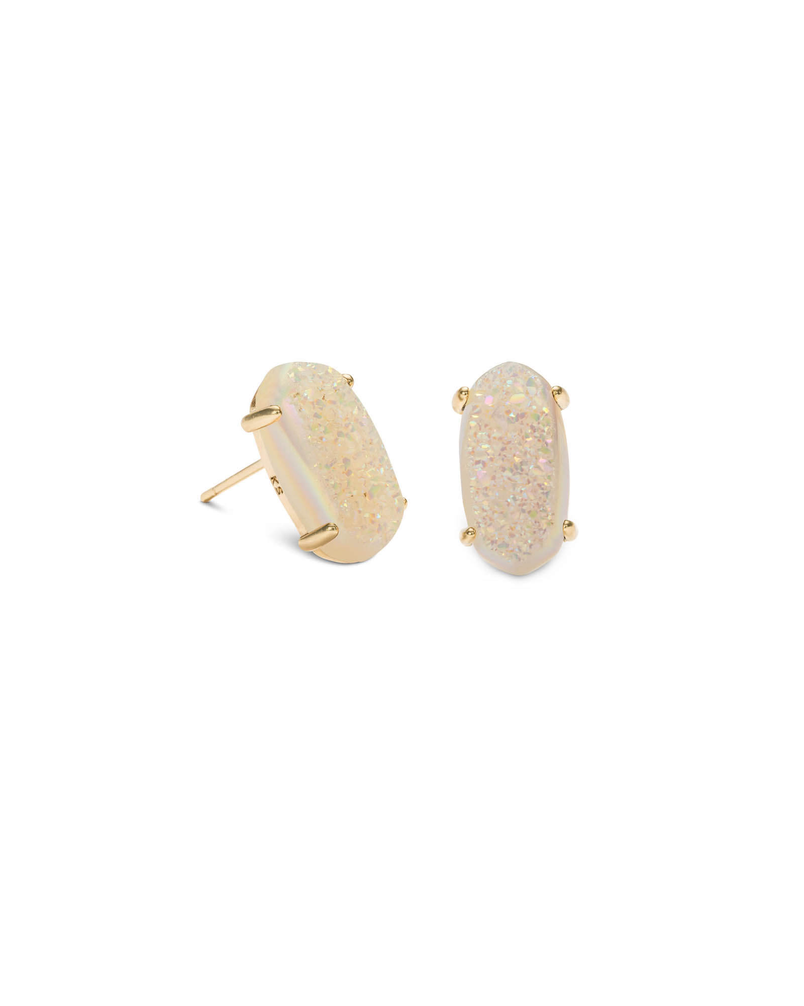Betty Gold Stud Earrings in Iridescent Drusy