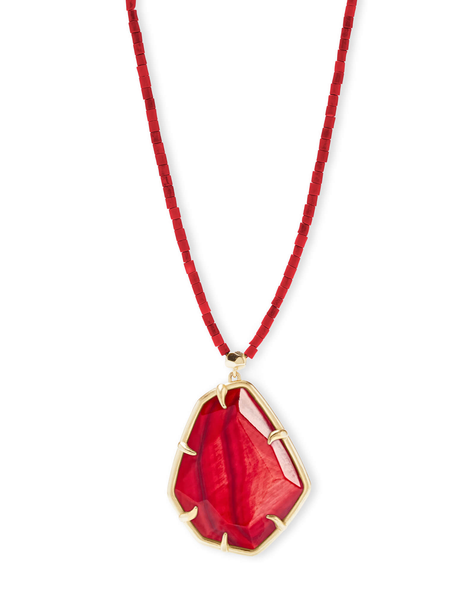 Beatrix Gold Long Pendant Necklace In Red Mother of Pearl