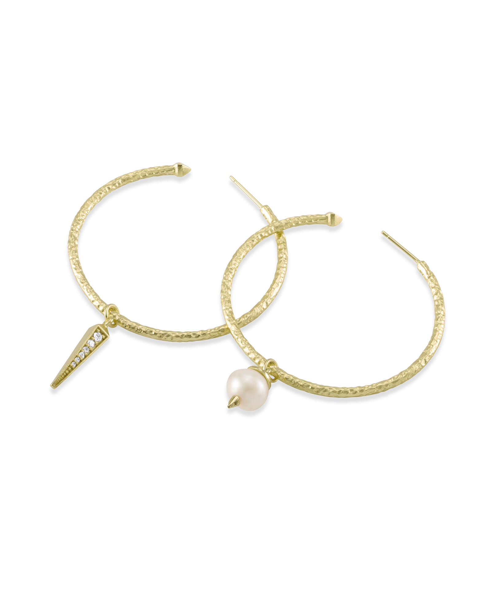 Duality Gold Charm Earrings Set in White Pearl