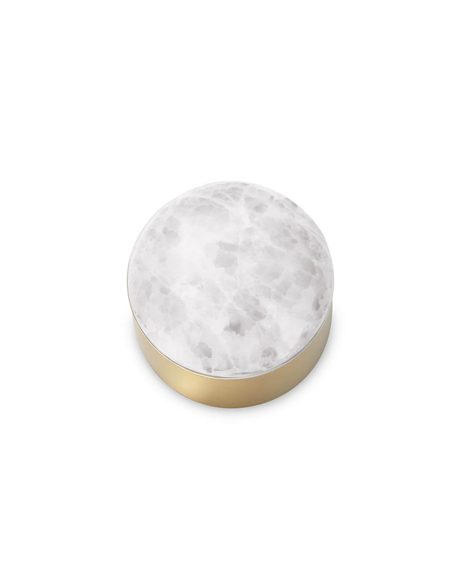 Mini Decorative Brass Dome Box in White Onyx
