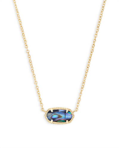 Elisa Gold Pendant Necklace in Abalone Shell