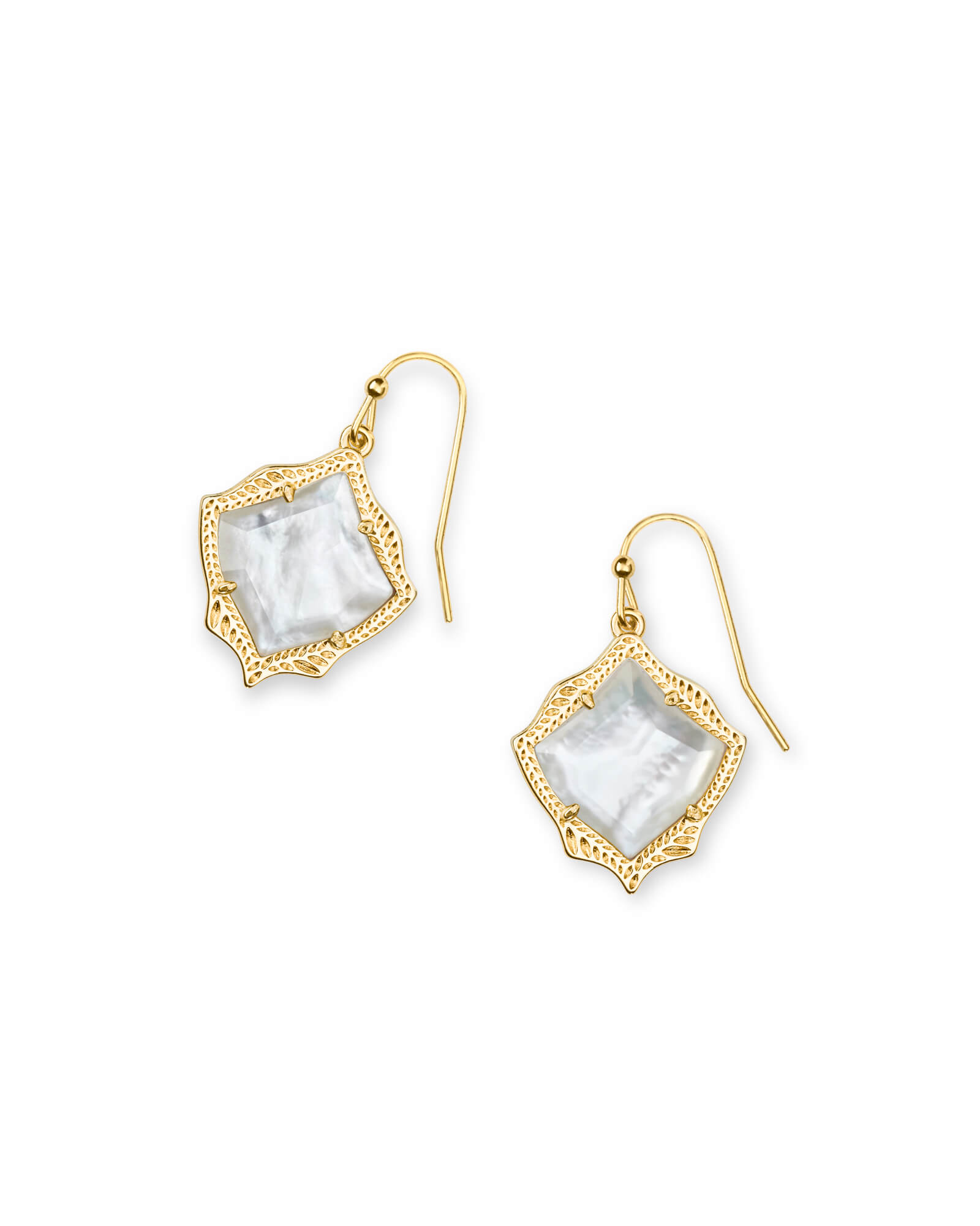 Kyrie Gold Drop Earrings in Ivory Pearl