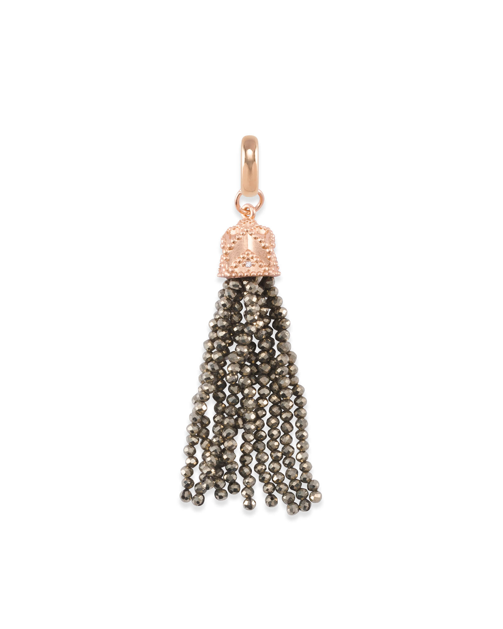 Beaded Rose Gold Tassel Charm in Brown Pyrite