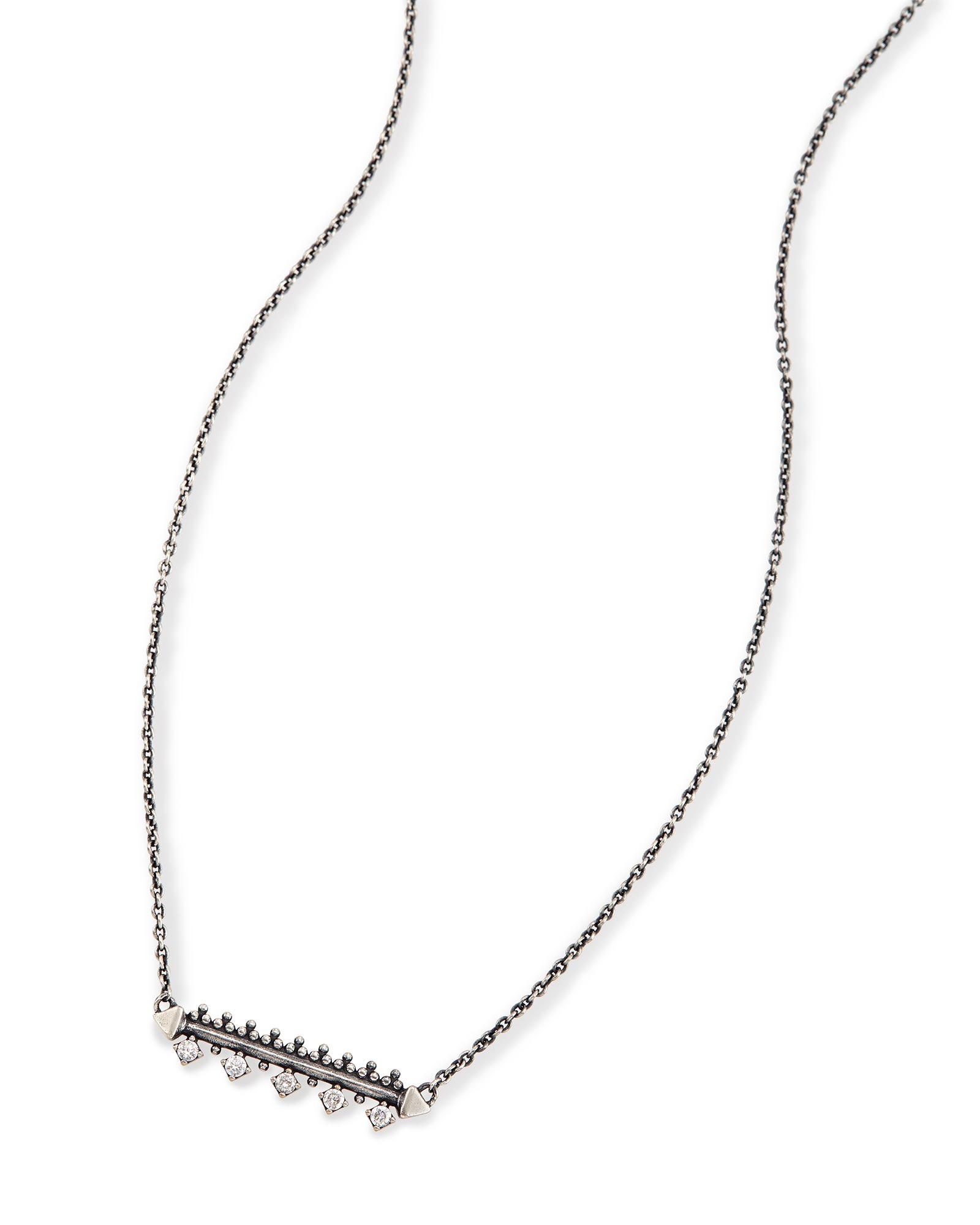 Anissa Bar Pendant Necklace in Antique Silver