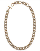 18 Inch Double Chain Link Necklace in Vintage Gold