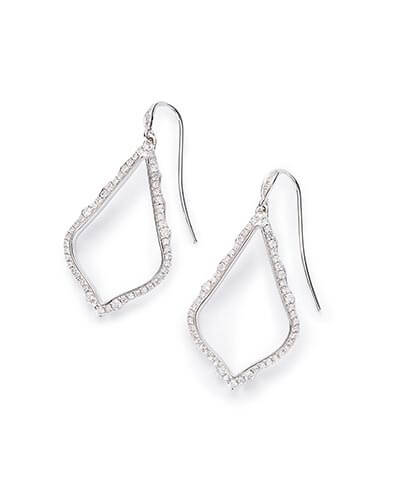 Sophia Drop Earrings in Pave Diamond and 14k White Gold