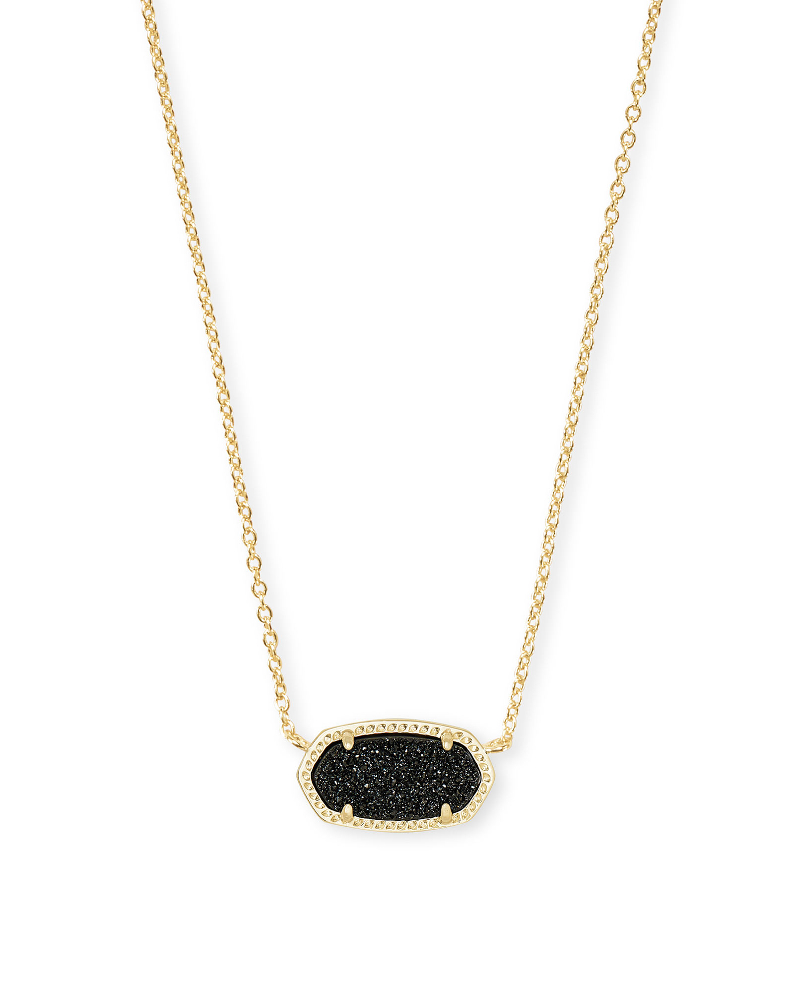 eb385f6077f24 Elisa Gold Pendant Necklace in Black Drusy | Kendra Scott